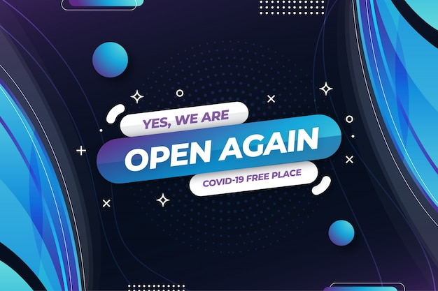 We are open again banner template