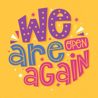 We are open again - lettering