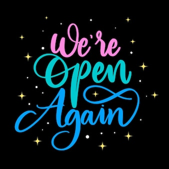 We are open again lettering