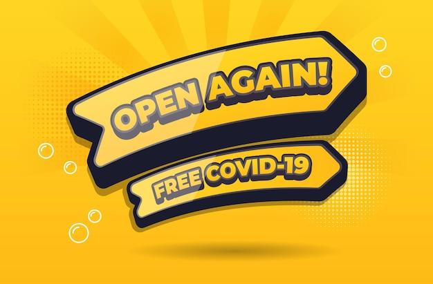 우리는 무료 covid19 장소 디자인 벡터에 대한 기호를 다시 엽니다.