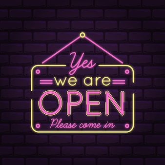 We are open come in pink neon lights