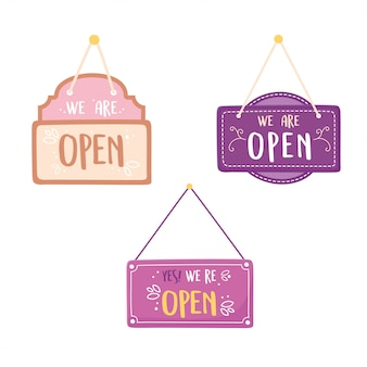 We are open hanging signs set