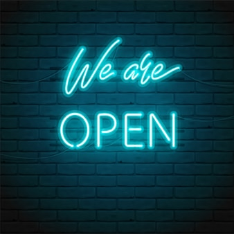 We are open lettering with bright glowing neon for  of sign on door of shop, cafe, bar or restaurant, club, night bright ad.  typographic illustration. glow night ad outdoor, indoor.