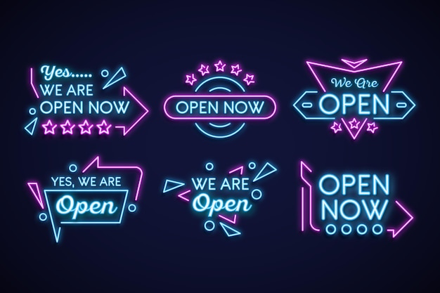 We are open neon sign collection concept