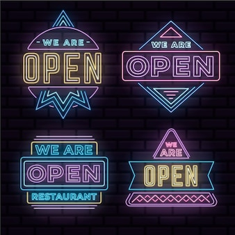 We are open - neon sign collection