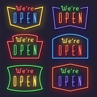 We are open neon sign collection