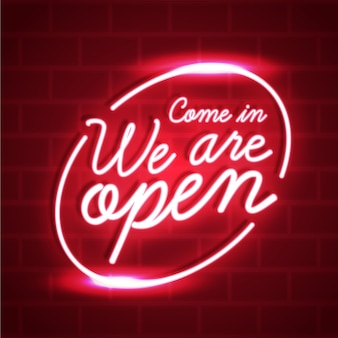We are open neon sign design