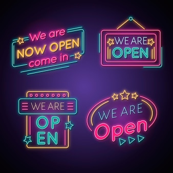 We are open neon sign pack
