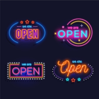 We are open neon sign set theme
