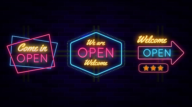 オープンネオンサインセットです