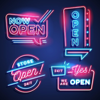 We are open neon sign set
