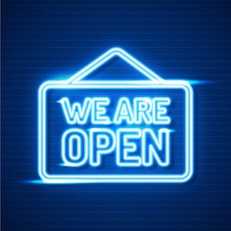 We are open neon sign theme