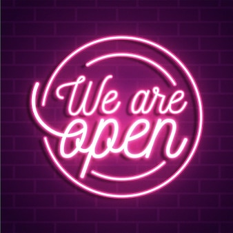 We are open neon sign