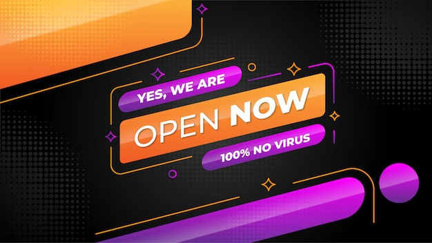 We are open now banner