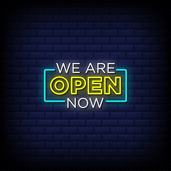 We are open now neon sign style text Premium Vector