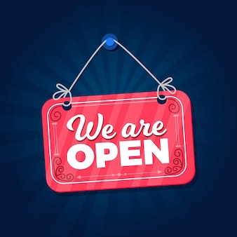 We are open sign in flat design