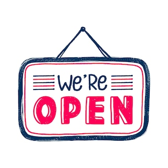 We are open sign in hand drawn