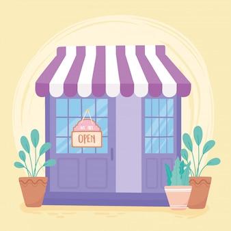 Мы открыты, вход в местную торговлю, висит на двери