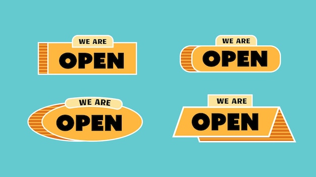 We are open sign label for store or shop