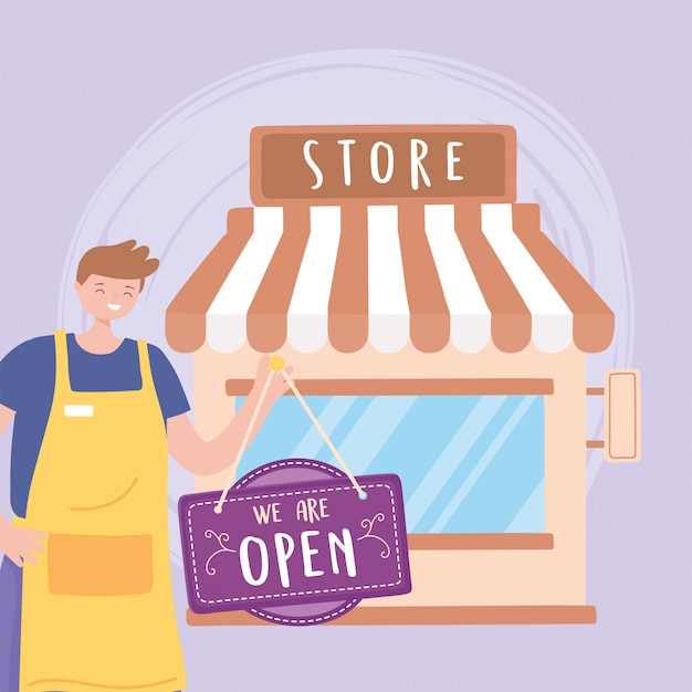 We are open sign and young employee with apron outdoors