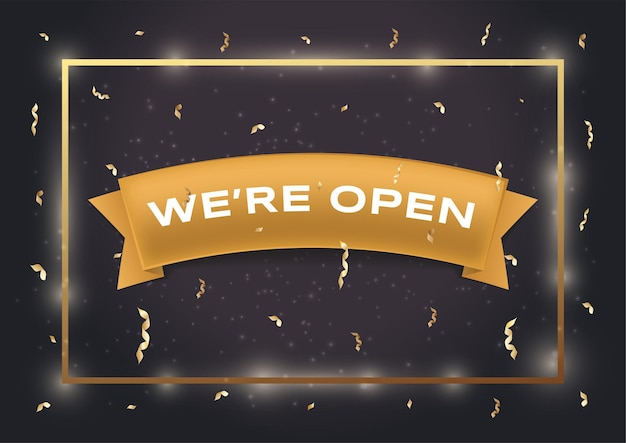 We are open vector flat banner template white text on