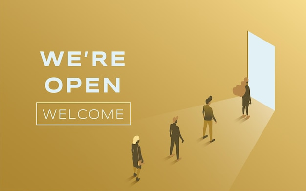 We are open vector flat poster design people standing in