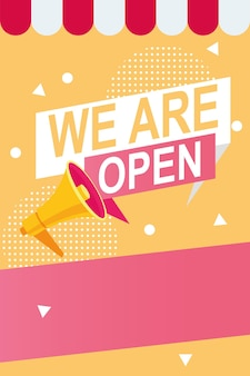 We are reopen commercial label with megaphone and parasol  illustration