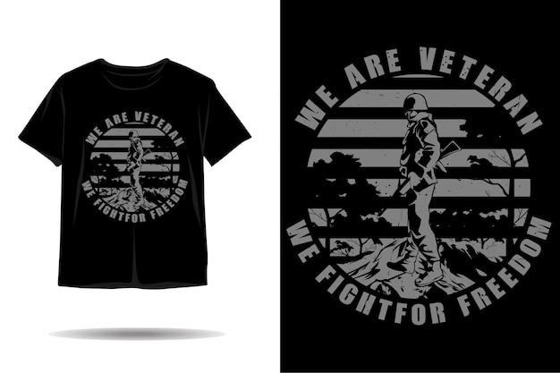 우리는 베테랑 실루엣 티셔츠 디자인입니다