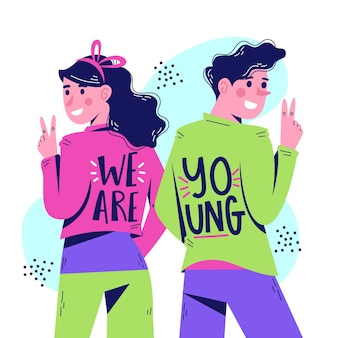 We are young cute characters hand drawn