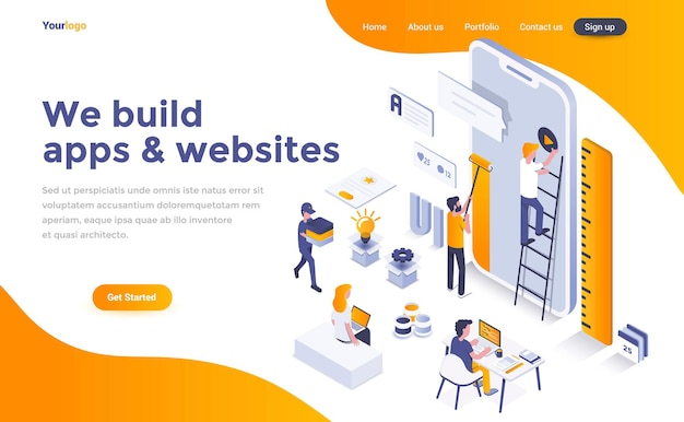 We build apps and websites isometric landing page