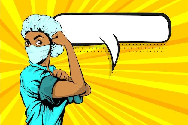 Мы можем сделать это женщина-врач-африканец в медицинской маске