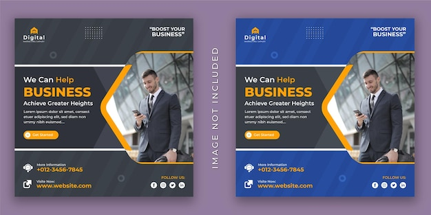We can help business agency and corporate flyer square social media instagram post or web banner template