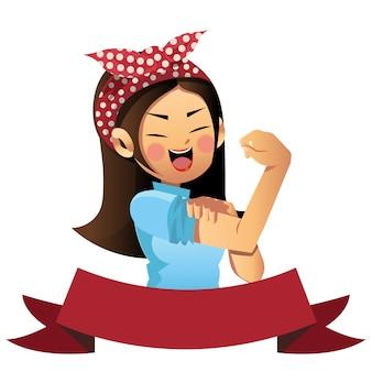 We can do it cute cartoon vector, women's day.