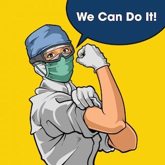 We can do it!. fight against corona virus disease. illustration