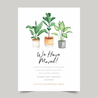 We have moved card template, moving announcements with watercolor indoor plants decoration