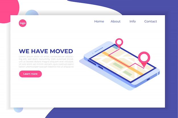 We have moved, changed address isometric concept, landing page template.