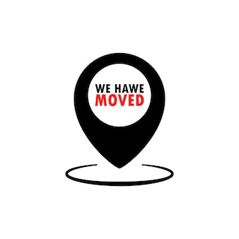 We have moved icon. map location pointer. vector flat cartoon illustration for web sites and banners design