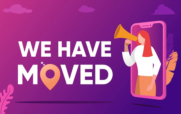 We have moved illustration concept, people shout on megaphone with we have moved word, change office adress ,   can use for, landing page, template, ui, web, mobile app, poster, banner, flyer