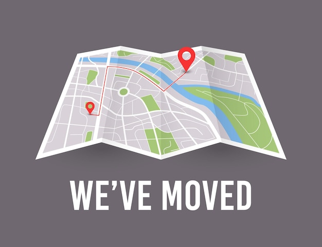 We have moved map wit pin pointer new office icon location