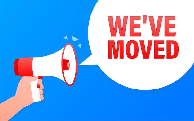 We have moved megaphone blue banner in flat style.   illustration.