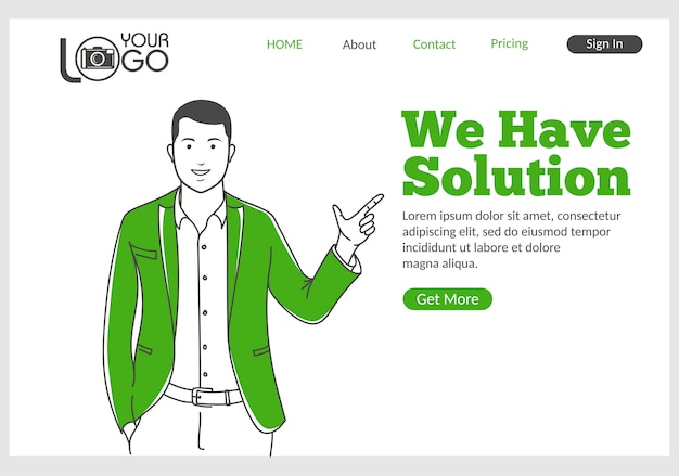 We have solution landing page in thin line style.