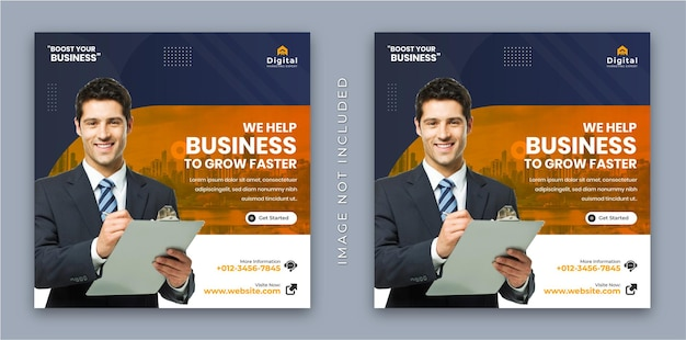 We help your bussiness to grow faster flyer and modern square instagram social media post banner