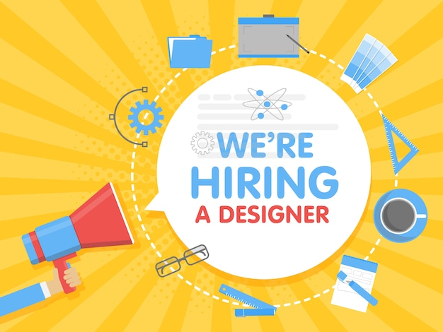 우리는 디자이너를 고용합니다. 확성기 개념 벡터 일러스트입니다. 배너 템플릿, 광고, 직원 검색, 그래픽 아티스트 작업 채용
