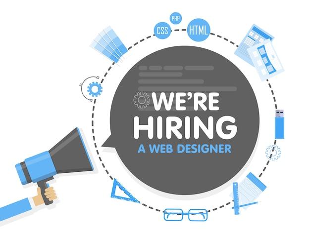우리는 웹 디자이너를 고용합니다. 확성기 개념. 배너 템플릿, 광고, 직원 검색, 그래픽 아티스트 작업 채용