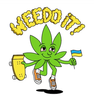 We do it! medical cannabis phrase about legalize. cute friendly green natural leaf of marijuana weed is jumping up with skateboard and flag of ukraine modern illustration cartoon character sticker.