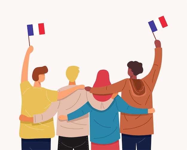 우리는 프랑스를 사랑합니다. 함께 포옹하고 프랑스 국기를 들고있는 사람들의 뒷모습,