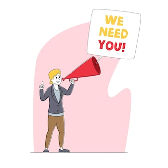 We need you, hiring, recruiting, head hunting concept. businesswoman character search employee hire on job using loudspeaker