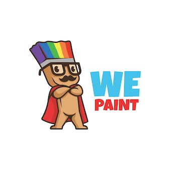 We paint logo. smiling paint brush character with mustache. logo paint. color logo. rainbow paint.