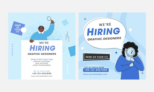 We're hiring graphic designer candidate poster design in two options.