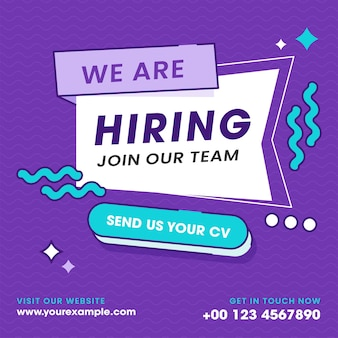 We're hiring join our team text on purple waves background for business recruiting concept.